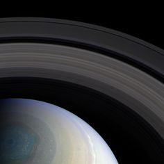 Saturn, as seen by Cassini in October, 2013.NASA / JPL / SSI / processed by Bill Dunford Polar Serenity-The Cassini spacecraft looks down on the north pole of Saturn. The scene is serene only from a distance--raging storms are clearly visible in the atmosphere.