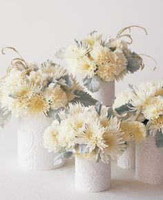 50 Extremely Ingenious Crafts and DIY Projects That Are Recycling, Repurposing and Upcycling Tin Cans Winter Centerpieces, White Centerpiece, Simple Centerpieces, Wedding Centerpieces, Wedding Decorations, Centerpiece Ideas, Pumpkin Centerpieces, Upcycled Crafts, Diy Crafts