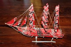 Coca Cola Coke Tin Can Model Pirate SHIP Hand Made