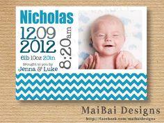 Mr. Adorable Birth Announcement DIY Printable No. A01. $6.00, via Etsy.