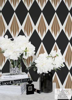 Art Deco Wallpaper, Geometric Pattern Removable Wallpaper, Minimalistic Wall Mural