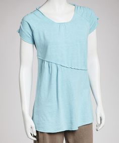 Take a look at this Aqua Blue Penelope Square-Neck Top by earth creations on #zulily today! $30 !!