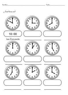 Fichas con ejercicios para aprender las horas para niños