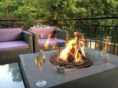 Outdoor fireplace of Chalet Twenty26, Morzine