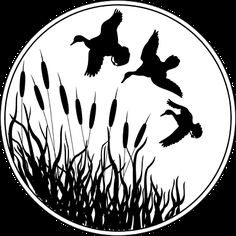 duck silhouette clip art | ... Stock Photo: Illustrated silhouette of ducks flying over cat tails