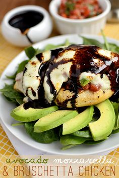 Avocado Mozzarella and Bruschetta Chicken with balsamic reduction. Delicious and easy!