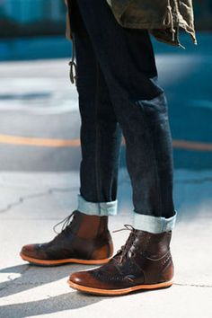 Cuffed over boots. Me Too Shoes, Men's Shoes, Dress Shoes, Fly Shoes, Sharp Dressed Man, Well Dressed Men, Over Boots, Fashion Shoes, Mens Fashion
