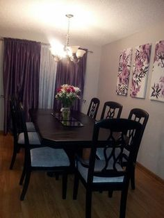 Purple black dining room Purple And Black, Dining Room, Curtains, Interior, Home Decor, Blinds, Decoration Home, Indoor, Room Decor