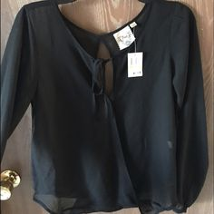 Black open back top Never worn - brand new with tags!! Macy's Tops Blouses