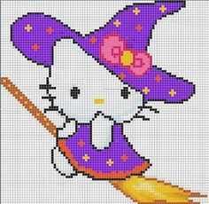 witch hello kitty cross stitch pattern