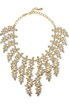 Kenneth Jay Lane | 22-karat gold-plated Swarovski crystal necklace | NET-A-PORTER.COM