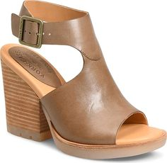 Kork-EaseR Women's Shoes in Taupe Leather Color. A stacked block heel provides a dramatic update on a modern, minimalist sandal featuring a cushioned cork footbed for signature comfort.