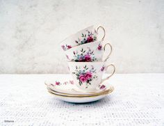 Vintage Royal Vale Bone China Made in England Rose pattern Set of 3 Cups and 3 Saucers by Littlemix on Etsy