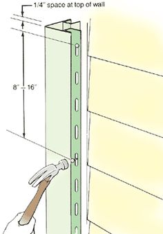 Install corner posts on exterior house corners.