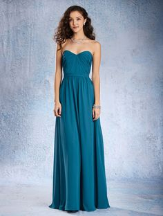 Alfred Angelo Style 7361L: floor length bridesmaid dress with sweetheart neckline and dipped natural waist bodice