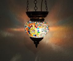 Moroccan lantern mosaic hanging lamp glass chandelier light lampen candle H 025 #Handmade #Moroccan