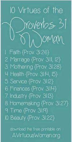 Top 10 characteristics of a Proverbs 31 Woman.