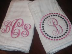 Gift Set of TWO Monogrammed Burp Cloths Chocolate Brown and Pink or  ANY thread COLOR boy or girl. $18.00, via Etsy. How adorable! The whole shop is super cute!