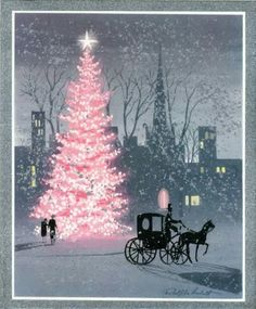Vintage Christmas card- pink Christmas tree