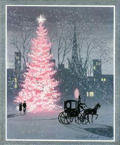 Vintage Christmas card- pink Christmas tree