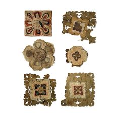 These six paper flowers must be among the earliest examples of cut paper and collage to have been found. Flowers were a common theme in the art of Dunhuang. Flying celestials known as apsarasas were shown scattering flowers. Floral rosettes, similar to the ones shown here, were a principal motif in ceilings, textiles, patterns and borders. Cut paper decorations and artificial flowers must have been widely used. From Cave 17, Mogao, near Dunhuang, Gansu province, China. Tang Dynasty, 9th-10th…