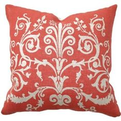Coral red scroll Pillow by Universal Lighting and Decor.
