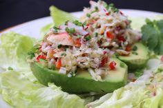 Crab stuffed avocados