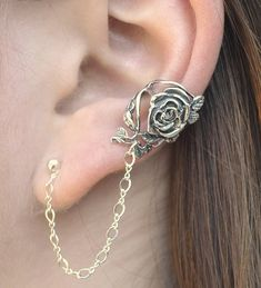 Rose+Ear+Cuff+with+Chain+to+Post++SINGLE+SIDE+by+ChapmanJewelry,+$44.00