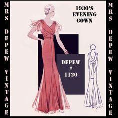 Vintage Sewing Pattern 1930's Evening or Wedding Gown par Mrsdepew