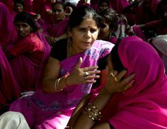 """Sampat Pal Devi, founder of the gulabis. The several hundred vigilante women of India's northern Uttar Pradesh state's Banda area proudly call themselves the """"gulabi gang"""" (pink gang), striking fear in the hearts of wrongdoers and earning the grudging respect of officials."""