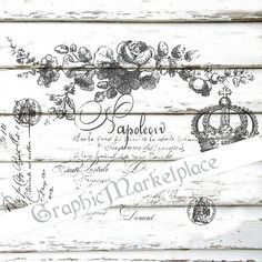 French Script Old Document Letter Instant by GraphicMarketplace