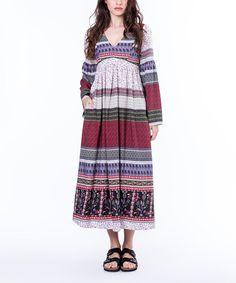 Love this Mahal Moda Burgundy & Blue Stripe Empire Waist Dress by Mahal Moda on #zulily! #zulilyfinds