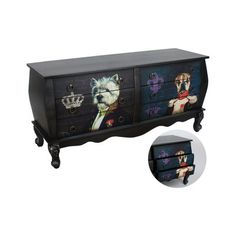 Wooden Drawer Cabinet Black 'Dog Lord'