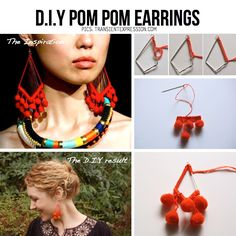 TransientExpression.com brings you a great DIY Pom Pom Earring tutorial, inspired by Mara Hoffmans 2012 S/S Collection.