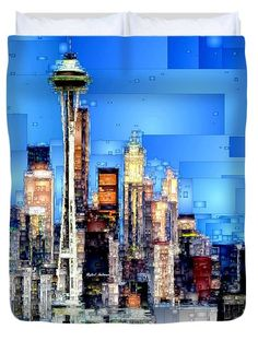 Seattle, Washington Duvet Cover by Rafael Salazar
