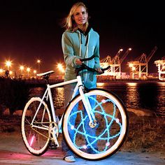Dazzle-In-The-Dark Bike Lights - Engineer and DIY master Dan Goldwater founded MonkeyLectric in 2007, after the avid cyclist's custom art bikes drew envious stares on the streets. Inspired by his original works of electrical design, Dan and his team developed Monkey Bike Lights for those seeking to spin their wheels in style.