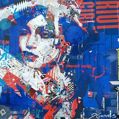 Riot Girl by Derek Gores as part of SCOPE Miami Beach 2015 and available at Thinkspace Gallery. by beautifulbizarremagazine Collage Portrait, Collage Artwork, Mixed Media Collage, Collage Ideas, Portraits, Derek Gores, Words On Canvas, Recycled Magazines, Tribal Art