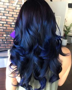 Blue Black Hair Color, Ombre Hair Color, Cool Hair Color, Purple Ombre, Raven Hair Color, Dyed Black Hair, Hair Color Ideas For Black Hair, Black Hair With Blue Highlights, Dark Blue Hair