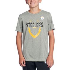 Shop the Official Steelers Pro Shop for Pittsburgh Steelers Boys Icon Grey  T-Shirt a7e1fc94f