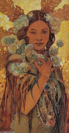 Native American Woman with Flowers and Feathers, Oil by Alphonse Maria Mucha (1860-1939, Czech Republic)