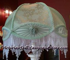 Green brocade lampshade by victoriandollslamps on Etsy, $280.00