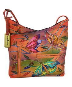 83047e48c2 Anuschka Handbags Angel Wings Tangerine Hand-Painted Leather V-Top Hobo Bag