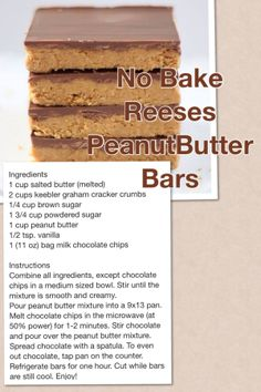 Reese Peanut Butter Bars - no baking involved! Reese's Peanut Butter Bars, Peanut Butter Dessert Recipes, Candy Recipes, Cookie Recipes, Just Desserts, Delicious Desserts, Yummy Food, Tasty, Fun Food