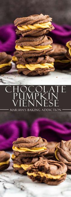 Chocolate Pumpkin Viennese Whirls | marshasbakingaddiction.com @marshasbakeblog
