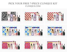 Choose your free 7-piece Clinique gift direct from Clinique US or Clinique CA websites when you spend $45 or more. Add a summer tote when you spend $65 or more. Clinique Gift, Dillards, Cosmetic Bag, Free Gifts, Packaging Design, Kit, Summer, Summer Time, Promotional Giveaways