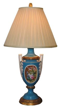 Antique Blue Old Paris French Porcelain Lamp w Hand Painted Flowers -- Fabulous Blue Vintage and Antique Home Decor items on Ruby Lane #rubylane