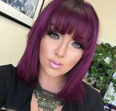 23 Stunning Balayage Ombre Hair Color Shades for 2019 Magenta Hair, Violet Hair, Hair Color Purple, Burgundy Hair, Short Purple Hair, Pink Purple, Pretty Hair Color, Hair Color Shades, Medium Hair Styles