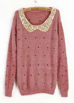 Pink Vintage Polka Dot Sequins Collar Fluffy Jumper Sweater pictures