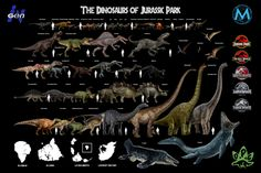 My size chart of nearly every dinosaur in the Jurassic Park franchise. Full Image in the comments. Jurassic Park Poster, Jurassic Park Jeep, Jurassic World 3, Jurassic World Dinosaurs, Jurassic World Fallen Kingdom, Dinosaur Posters, Dinosaur Art, All Dinosaurs, The Lost World