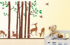 Tree with Birds Deer Wall Decals Removable Vinyl by WallDecalsTime, $129.00